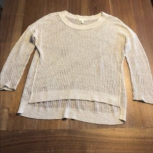Eileen Fisher cream colored open knit sweater